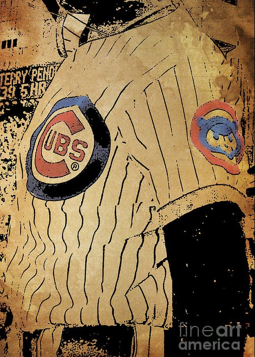 Chicago Greeting Card featuring the painting Chicago Cubs Baseball Team Vintage Card by Drawspots Illustrations