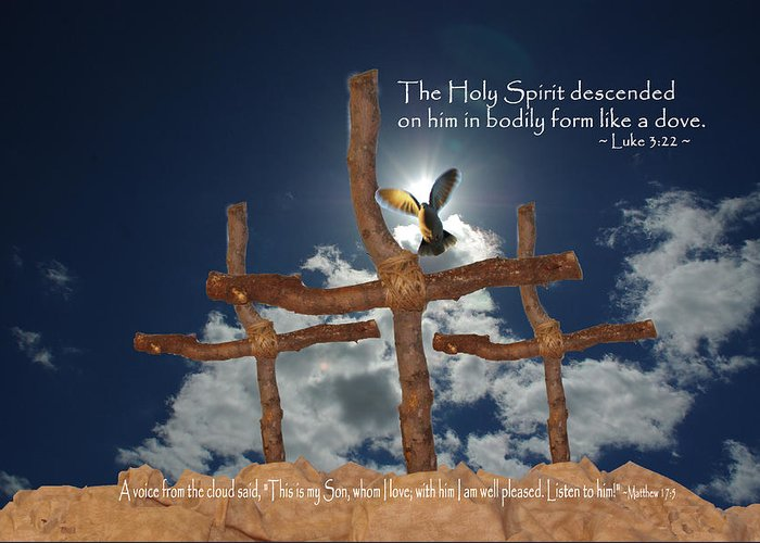 Pentecost Greeting Card featuring the photograph 3 Crosses Descent Of Holy Spirit by Robyn Stacey