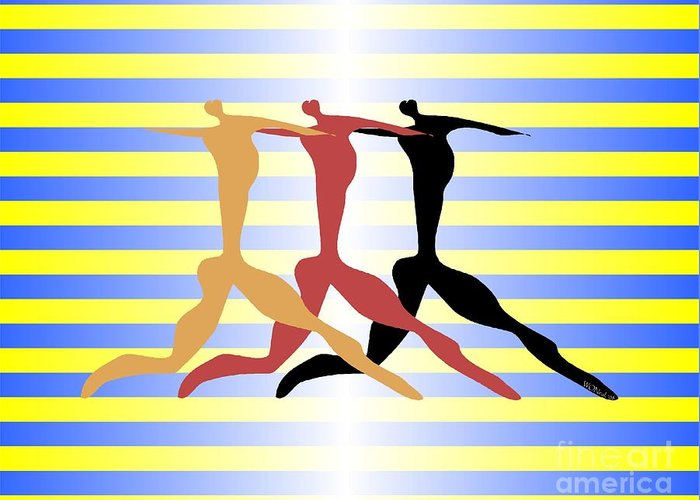 Dance Greeting Card featuring the digital art 3 Dancers by Walter Oliver Neal