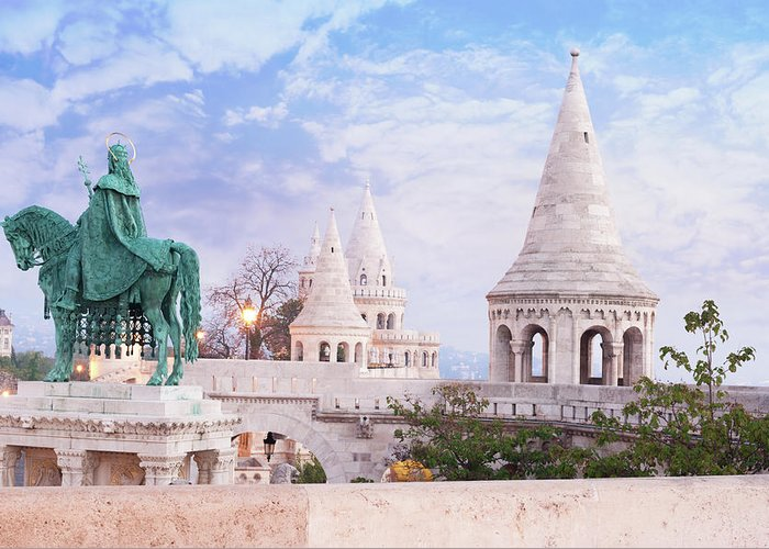 Budapest Greeting Card featuring the photograph Fisherman's Bastion by Peter Horvath