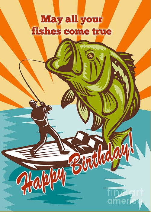 Birthday Day Card Featuring Fly Fisherman On Boat Catching Largemouth Bass Retro Style Illustration Greeting Card featuring the digital art Fly Fisherman On Boat Catching Largemouth Bass by Aloysius Patrimonio