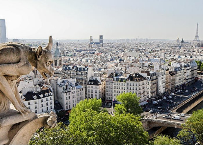 Gargoyle Greeting Card featuring the photograph Gargoyle Guarding The Notre Dame Basilica In Paris by Pierre Leclerc Photography