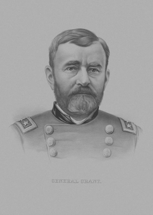 General Grant Greeting Card featuring the drawing General Grant by War Is Hell Store