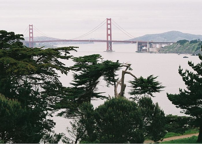 Landscape Greeting Card featuring the photograph Golden Gate Bridge by Edward Wolverton