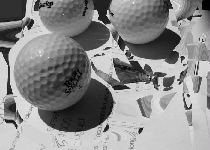Golf Greeting Card featuring the photograph 3 Golf Balls Enter Art Competition by Evguenia Men