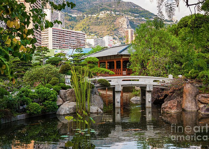 Japanese Garden Greeting Card featuring the photograph Japanese Garden In Monte Carlo by Elena Elisseeva