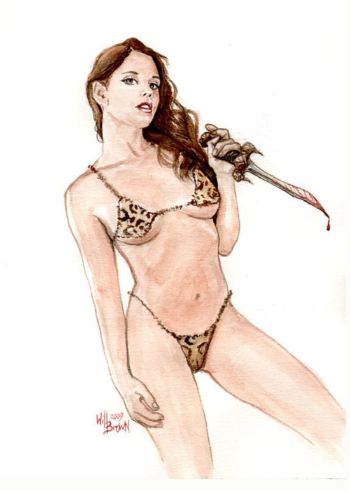 Barbarian Greeting Card featuring the painting Junglegirl With Dagger by Will Brown