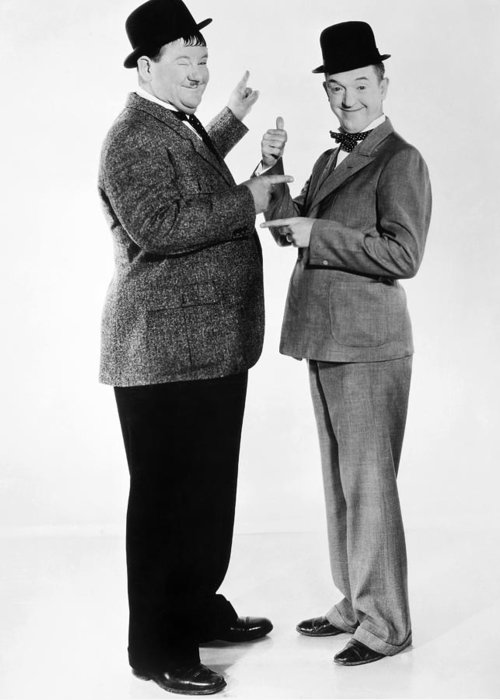20th Century Greeting Card featuring the photograph Laurel And Hardy by Granger