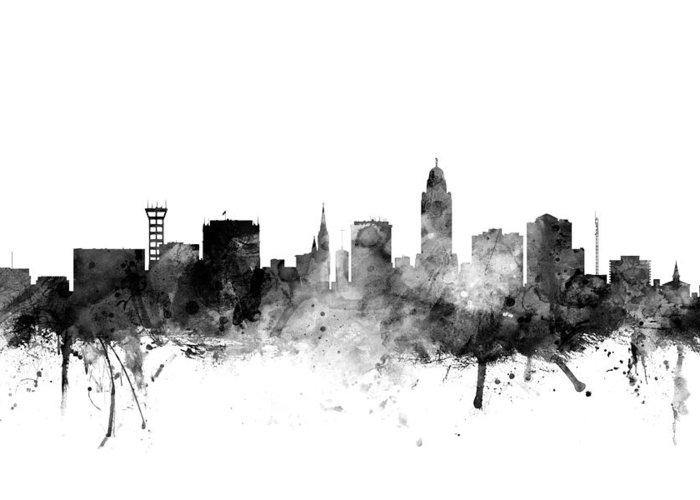 City Greeting Card featuring the digital art Lincoln Nebraska Skyline 3 by Michael Tompsett