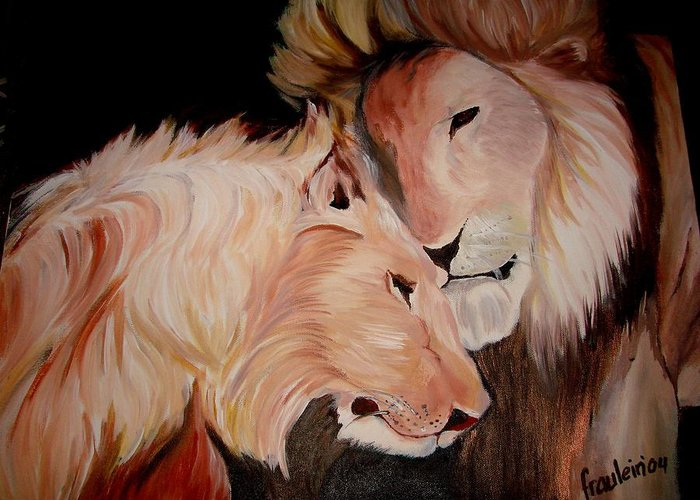 Lion Greeting Card featuring the painting Lion's Love by Glory Fraulein Wolfe
