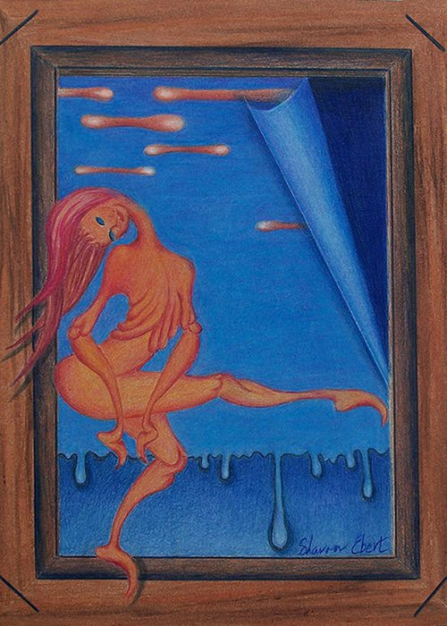 Surreal Painting Greeting Card featuring the painting Liquid Spirit by Sharon Ebert