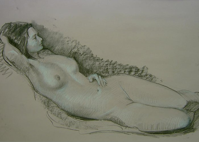 Model Study Greeting Card featuring the drawing Model Study by Tigran Ghulyan