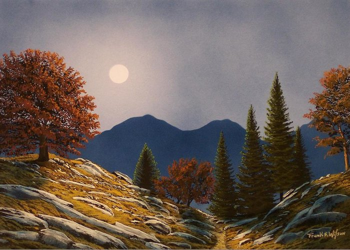 Landscape Greeting Card featuring the painting Mountain Moonrise by Frank Wilson