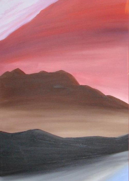 Mountain Greeting Card featuring the painting 3 Mountains by Liz Vernand
