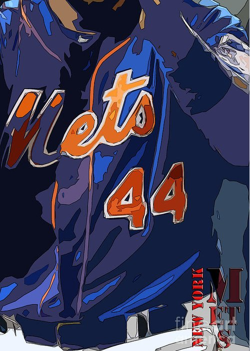 Mets Greeting Card featuring the painting New York Mets Baseball Team And New Typography by Drawspots Illustrations