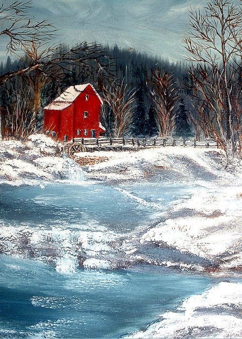 Landscape Mill Old Streem Creek Greeting Card featuring the painting Old Mill by Kenneth LePoidevin