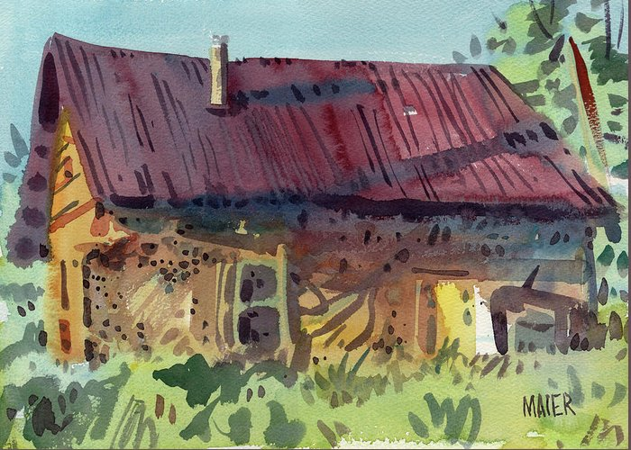 Barn Greeting Card featuring the painting Outbuilding by Donald Maier