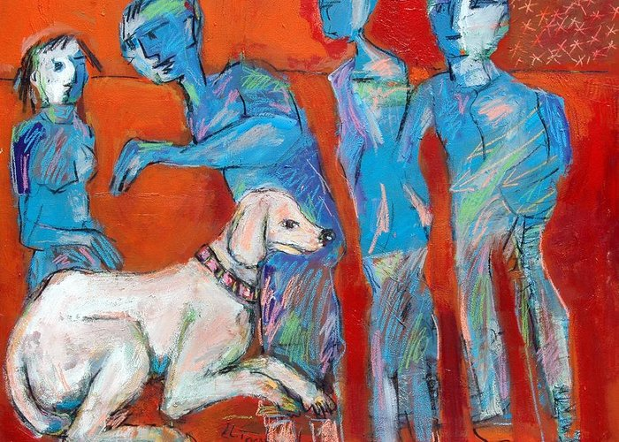 New Caultcher -dog In Family Greeting Card featuring the painting Painting by Ibrahim El tanbouli