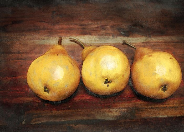 Pear Greeting Card featuring the digital art 3 Pears On A Wooden Table by Julius Reque