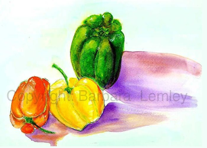 Peppers Greeting Card featuring the painting 3 Peppers by Barbara Lemley