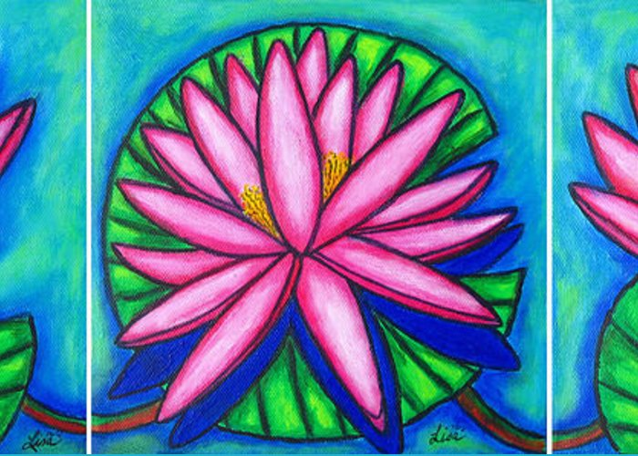 Water Lilies Greeting Card featuring the painting 3 Pink Gems by Lisa Lorenz