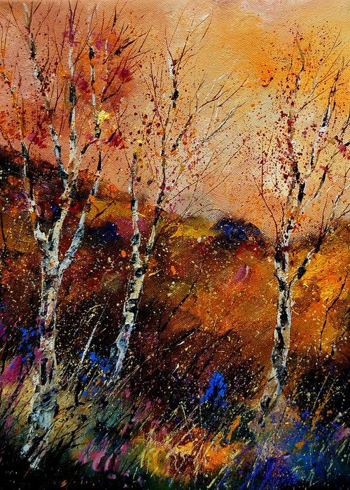 River Greeting Card featuring the painting 3 Poplars by Pol Ledent