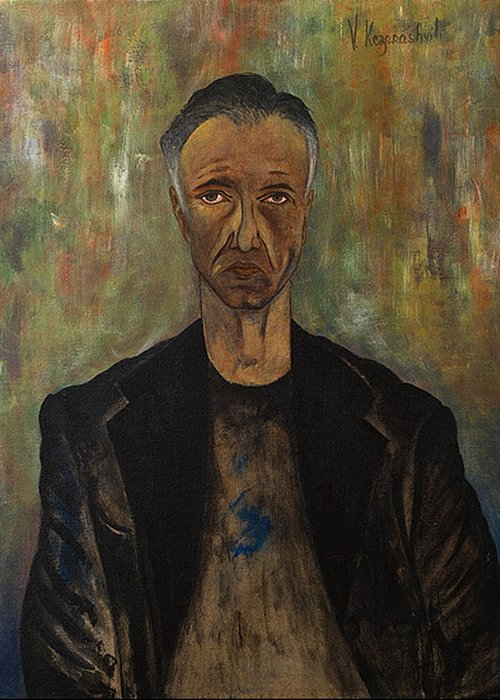 Portrait Greeting Card featuring the painting Portrait Of A Man by Vladimir Kezerashvili