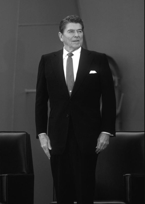 Ronald Reagan Greeting Card featuring the photograph President Ronald Reagan by War Is Hell Store
