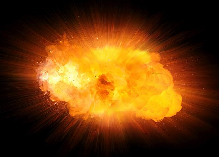 Fire Greeting Card featuring the photograph Realistic Fire Explosion, Orange Blast With Sparks Isolated On Black Background by Lukasz Szczepanski