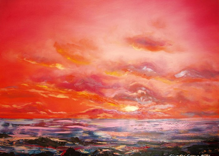 Red Greeting Card featuring the painting Red Sunset by Gina De Gorna