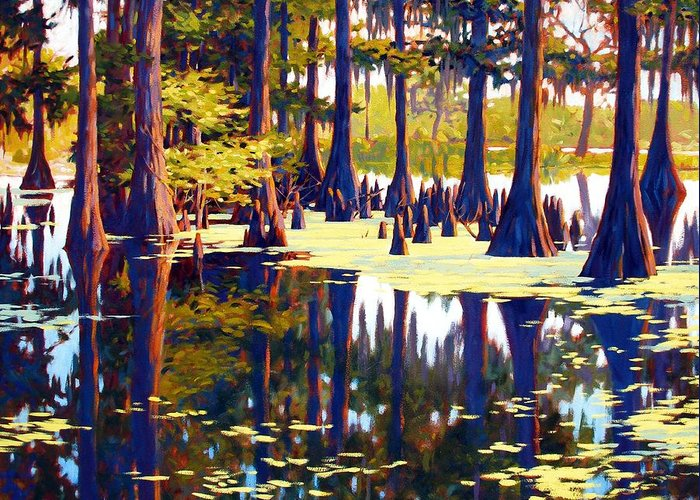 Swamp Greeting Card featuring the painting Reflections by Kevin Lawrence Leveque