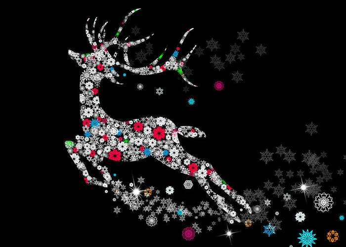 Animal Greeting Card featuring the digital art Reindeer Design By Snowflakes by Setsiri Silapasuwanchai