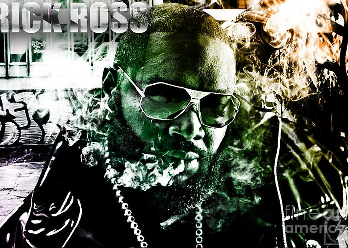 Rick Ross Greeting Card featuring the digital art Rick Ross by The DigArtisT