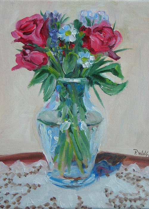 Roses Greeting Card featuring the painting 3 Roses by Paul Walsh