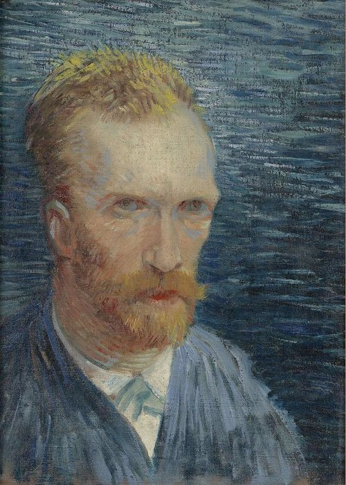 Man Greeting Card featuring the painting Self-portrait Paris July  August 1887 Vincent Van Gogh 1853 1890 by Artistic Panda