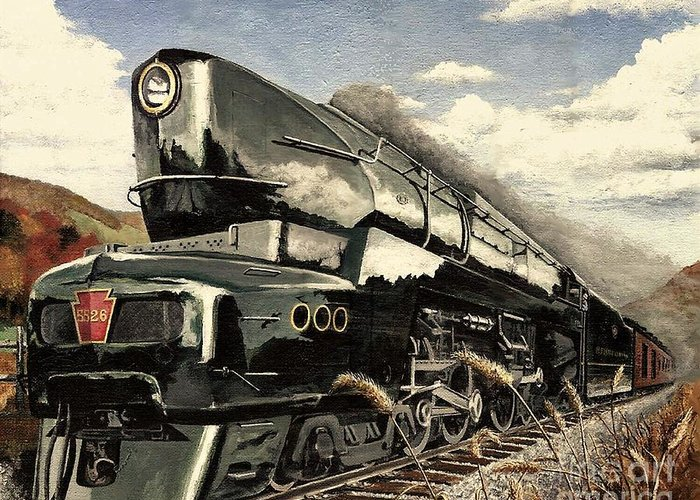 Pennsylvania Railroad Greeting Card featuring the painting Showin Off by David Mittner