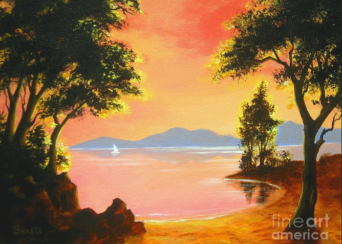 Nature Greeting Card featuring the painting Spirit Lake by Shasta Eone