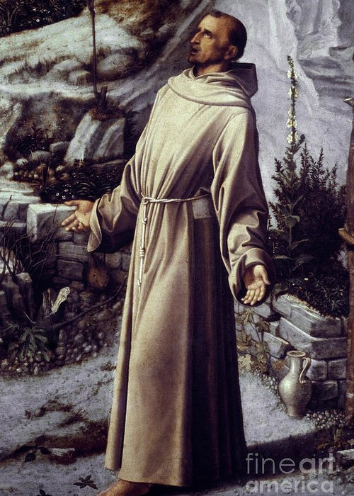 12th Century Greeting Card featuring the painting St. Francis Of Assisi by Granger