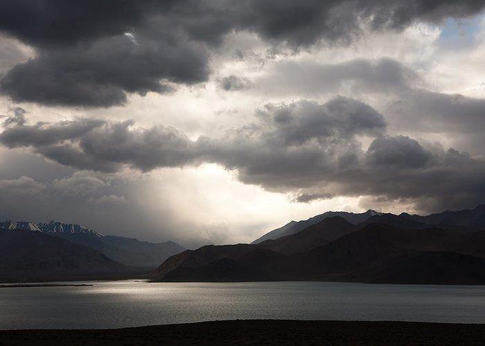 Beautiful Greeting Card featuring the photograph Storm On Karakul Lake by Konstantin Dikovsky
