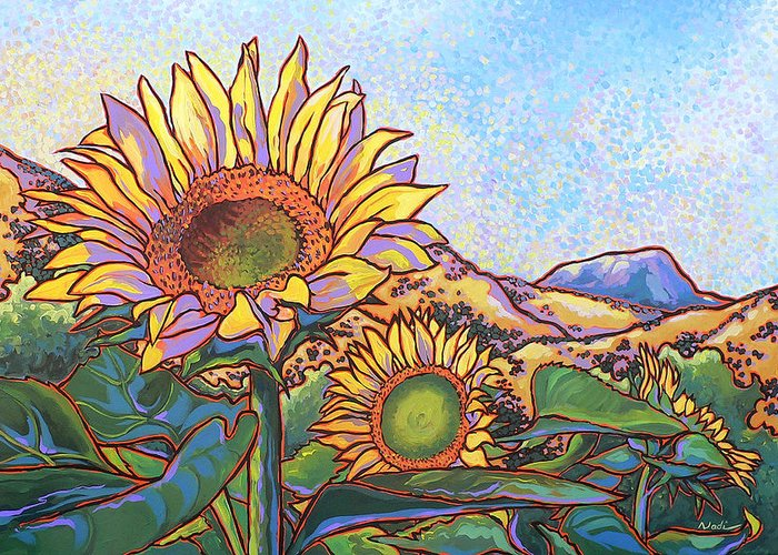 Sunflower Greeting Card featuring the painting 3 Sunflowers by Nadi Spencer