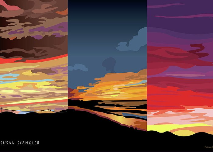 Sunset Greeting Card featuring the digital art 3 Sunsets by Susan Spangler