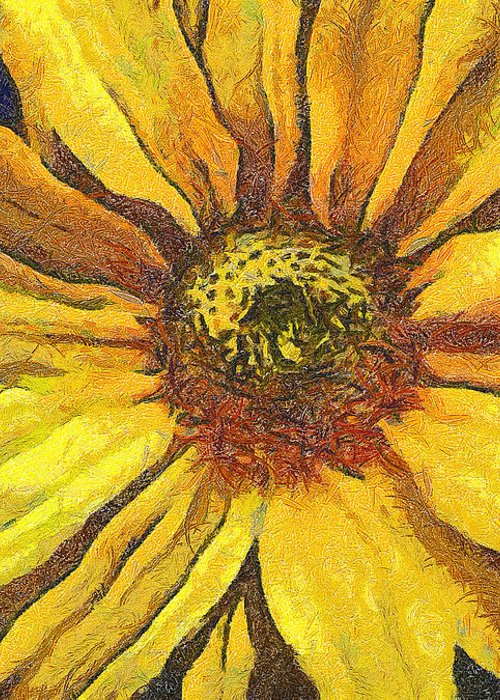 Odon Greeting Card featuring the painting The Flower by Odon Czintos