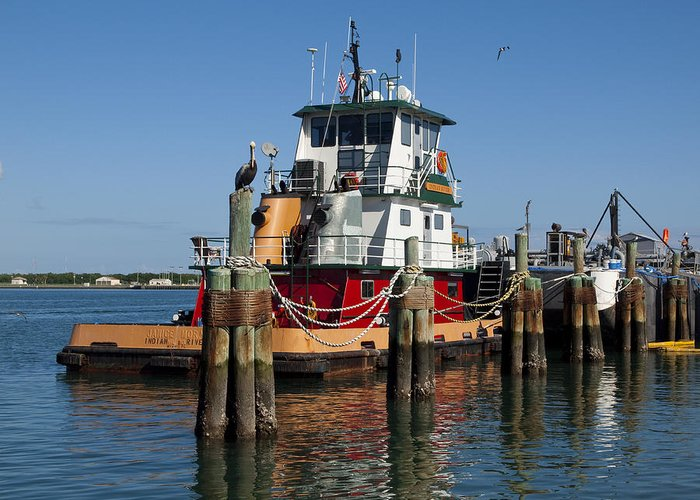 Florida Greeting Card featuring the photograph Tug Indian River by Allan Hughes