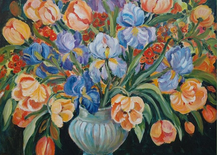 Still Life Greeting Card featuring the painting Tulips by Alexandra Maria Ethlyn Cheshire