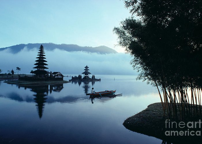 Bratan Greeting Card featuring the photograph Ulu Danu Temple by William Waterfall - Printscapes
