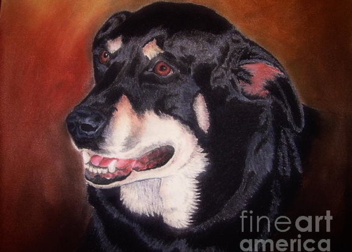Dog Portrait Greeting Card featuring the pastel Untitled by John Huntsman