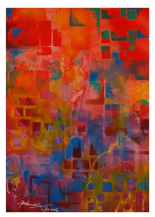 Abstract Greeting Card featuring the painting Untitled 3 by Padmakar Kappagantula