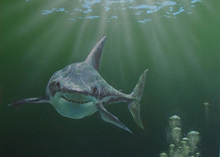 Shark Greeting Card featuring the painting Untitled 3 by Philip Fleischer