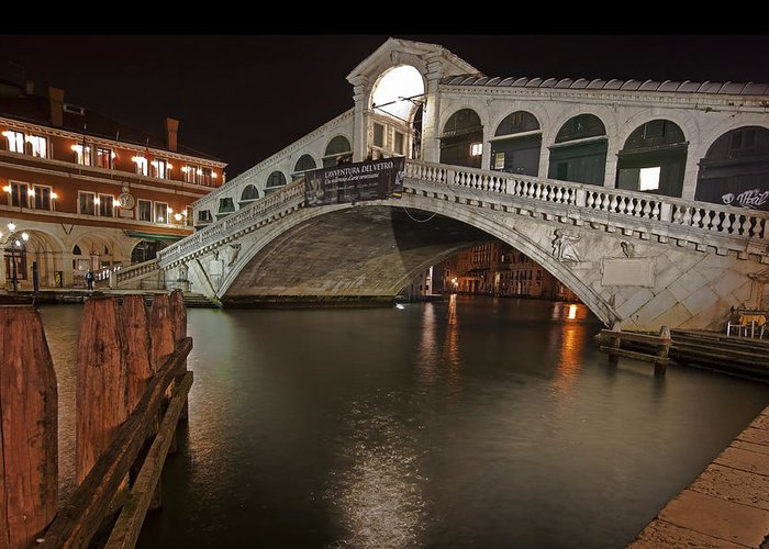 Architecture Greeting Card featuring the photograph Venice By Night by Joana Kruse