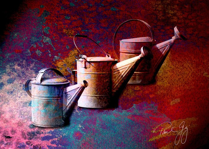 Watering Cans Greeting Card featuring the mixed media 3 Watering Cans No.1 by Paul Gaj